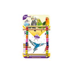 EuroBird Kuş Oyuncağı Renkli Boncuklu Kare Salıncak - Thumbnail