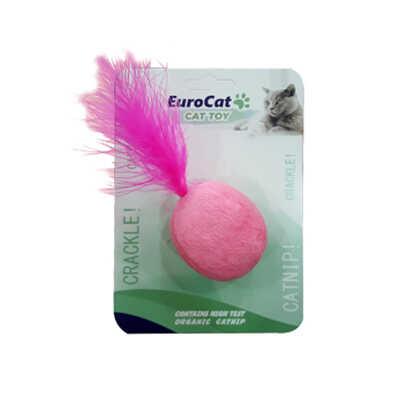 EuroCat Kedi Oyuncağı Pembe Tüylü Top