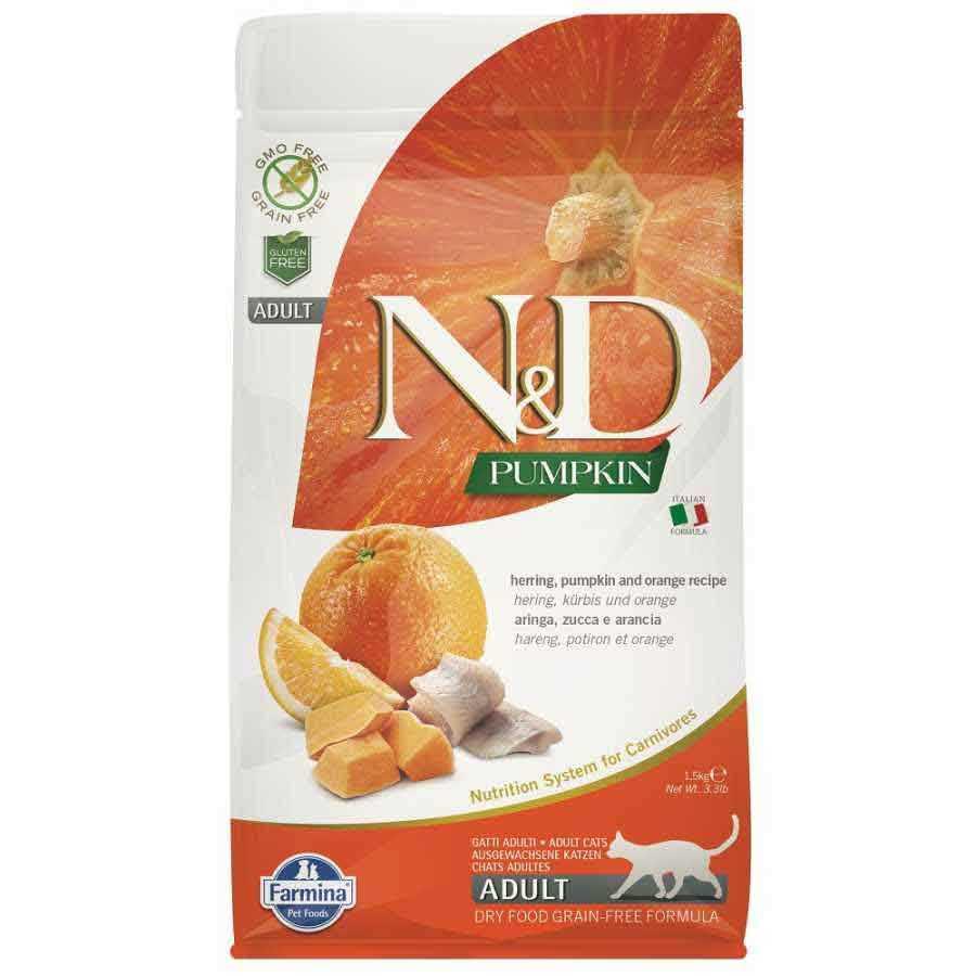 N & D Balkabaklı Balıklı Portakallı Yetişkin Kedi Maması
