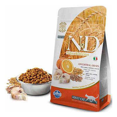 N&D Morina Balığı Ve Portakallı Yetişkin Kedi Maması
