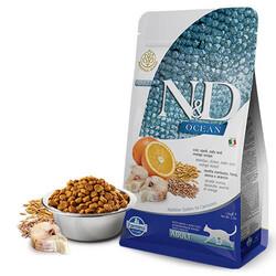 N&D - ND Ocean Düşük Tahıllı Morina Balıklı ve Portakallı Yetişkin Kedi Maması