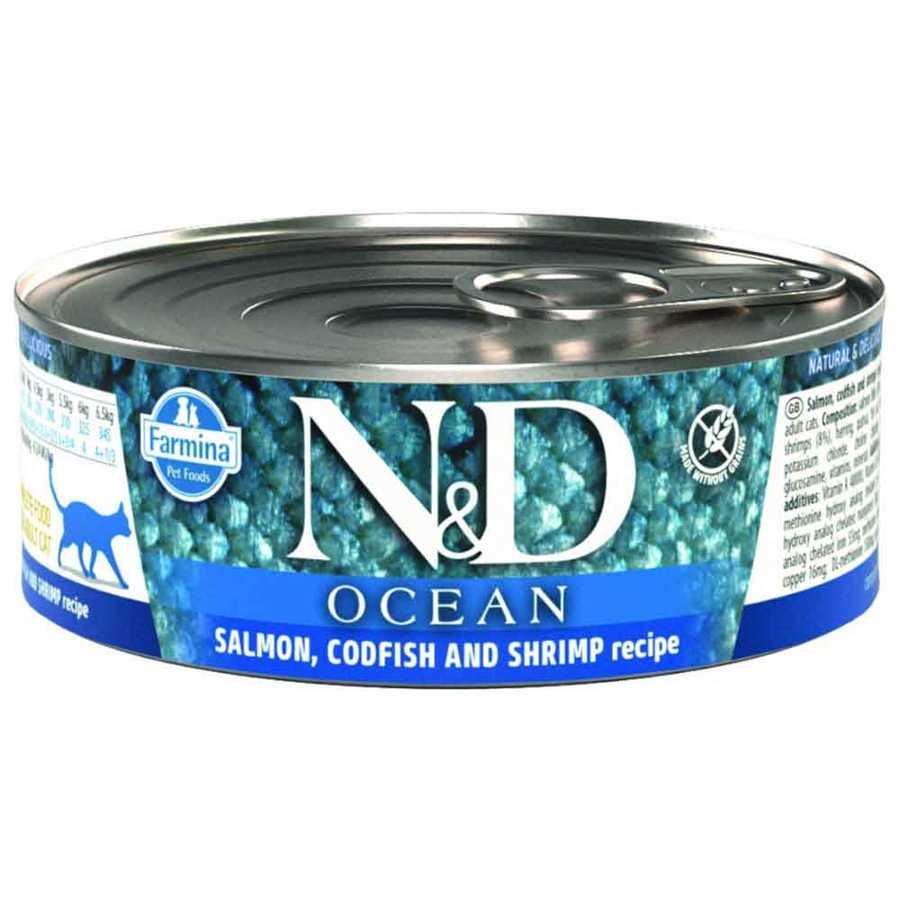 N&D Ocean Somon,Morina Balığı,Karides Yetişkin Kedi Konservesi