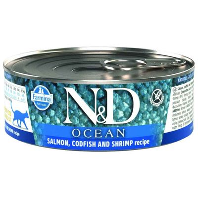 N&D - N&D Ocean Somon,Morina Balığı,Karides Yetişkin Kedi Konservesi