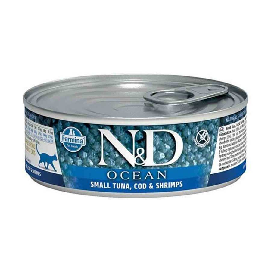 N&D Ocean Ton,Morina Balığı Ve Karidesli Yetişkin Kedi Konservesi