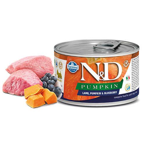 N&D Pumpkin Kuzulu Yaban Mersinli Küçük Irk Yetişkin Köpek Konservesi