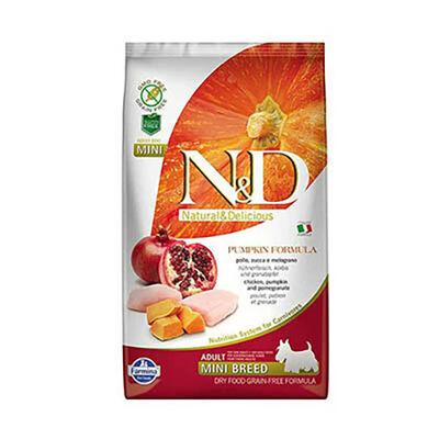 N&D - N&D Pumpkin Tahılsız Bal Kabaklı, Tavuk Etli Ve Narlı Ufak Irk Yetişkin Köpek Maması
