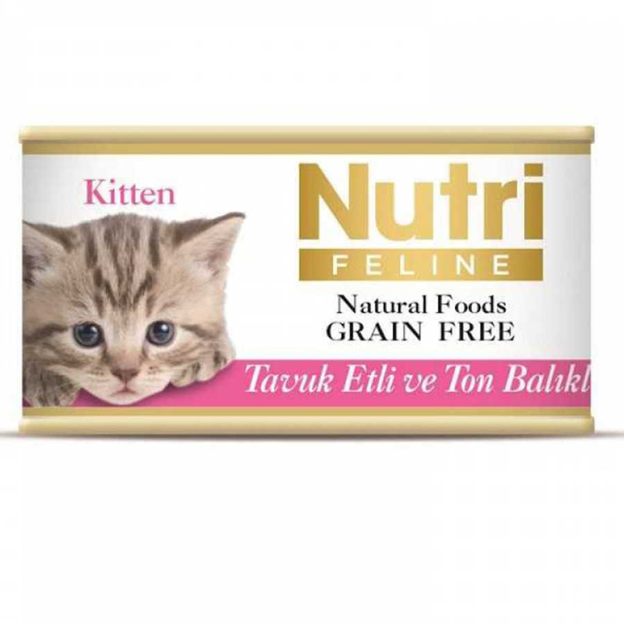 Nutri Feline Tahılsız Tavuk Etli Ton Balıklı Yavru Kedi Konservesi