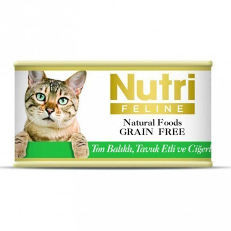 Nutri Feline Tahılsız Ton Balık Tavuk Ciğerli Yetişkin Kedi Konservesi