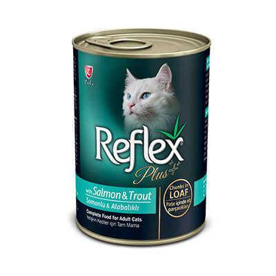 Reflex Plus Pate Somon Ve Alabalıklı Et Praçacıklı Yetişkin Kedi Konservesi