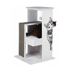 Trixie Kedi Tırmalama Oyun Evi,Beyaz/Gri - Thumbnail
