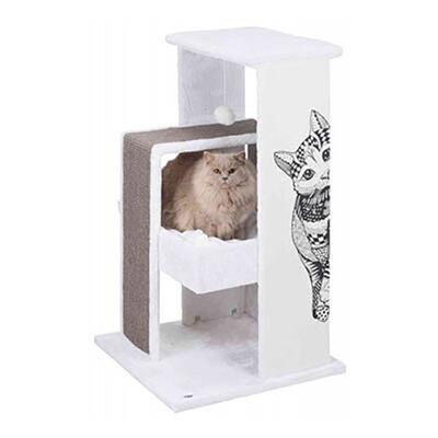 Trixie Kedi Tırmalama Oyun Evi,Beyaz/Gri