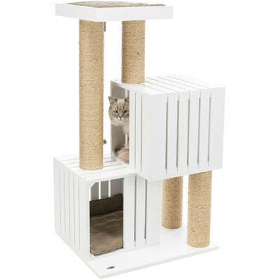 Trixie Kedi Tırmalama ve Oyun Evi, Beyaz, Kum Beji